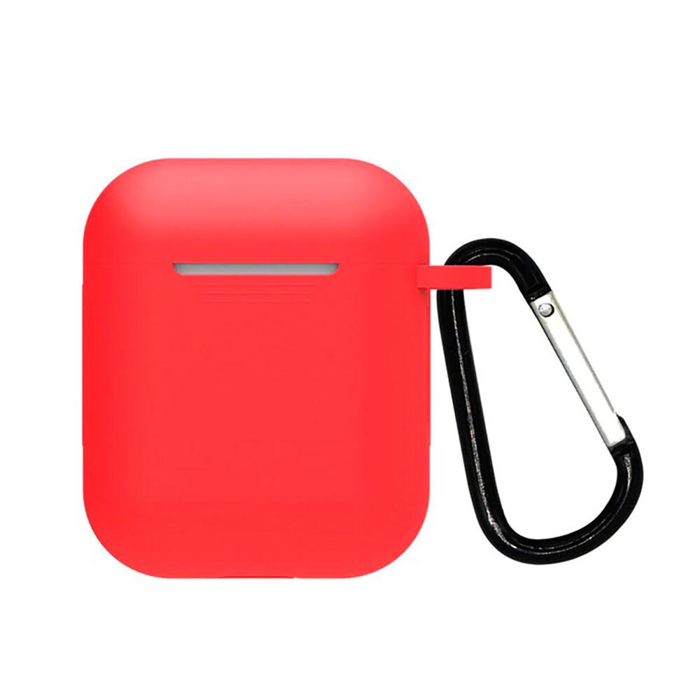 Силиконовый чехол с карабином iLoungeMax TPU Case Red для AirPods 2   1