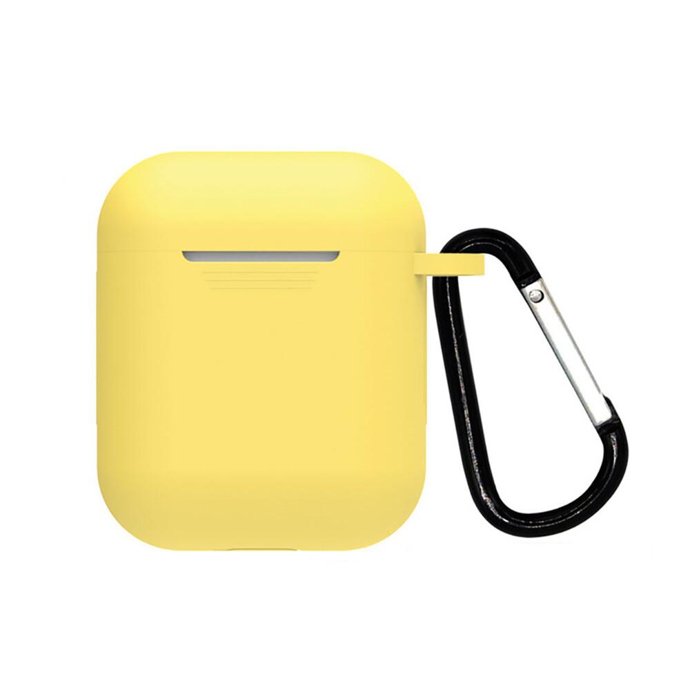 Желтый силиконовый чехол с карабином iLoungeMax TPU Case Yellow для AirPods 2 | 1