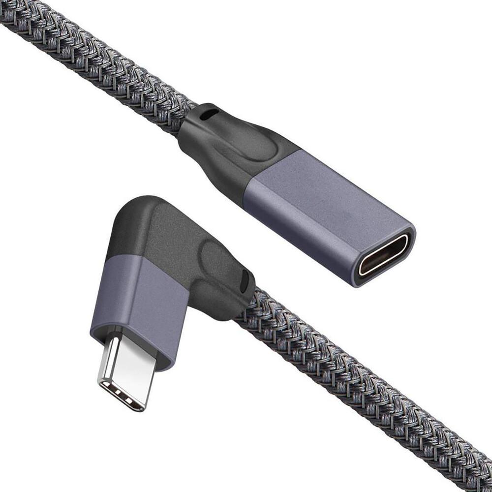 Угловой удлинительный кабель iLoungeMax USB Type-C USB-C 3.1 10Gbp/s 90° 1м для MacBook   iPad