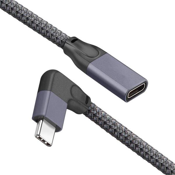 Угловой удлинительный кабель iLoungeMax USB Type-C USB-C 3.1 10Gbp/s 90° 1м для MacBook | iPad