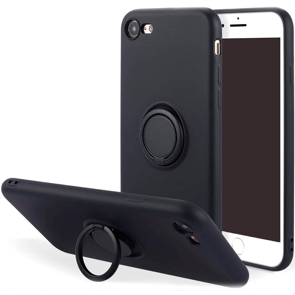 Силиконовый чехол с кольцом iLoungeMax With Ring Black для iPhone 7 | 8 | SE 2