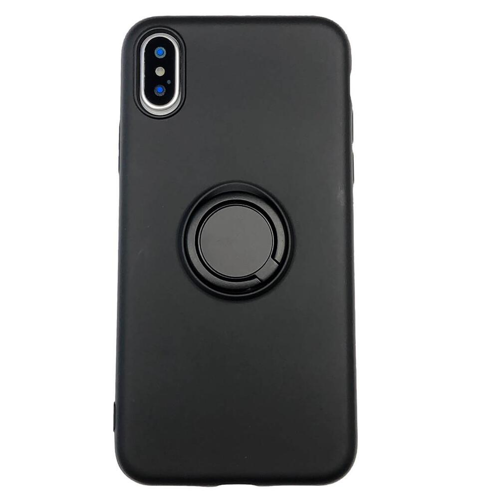 Силиконовый чехол с кольцом iLoungeMax With Ring Black для iPhone X   XS