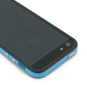 Купить Двухцветный черно-голубой бампер для iPhone 5/5S/SE