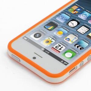 Купить Двухцветный бело-оранжевый бампер для iPhone 5/5S/SE