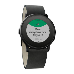 Купить Часы Pebble Time Round Black with Nero Black Leather Band 20mm