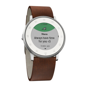 Купить Часы Pebble Time Round Silver with Nubuck Brown Leather Band 20mm