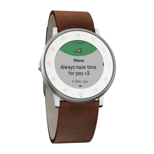 Часы Pebble Time Round Silver with Nubuck Brown Leather Band 20mm