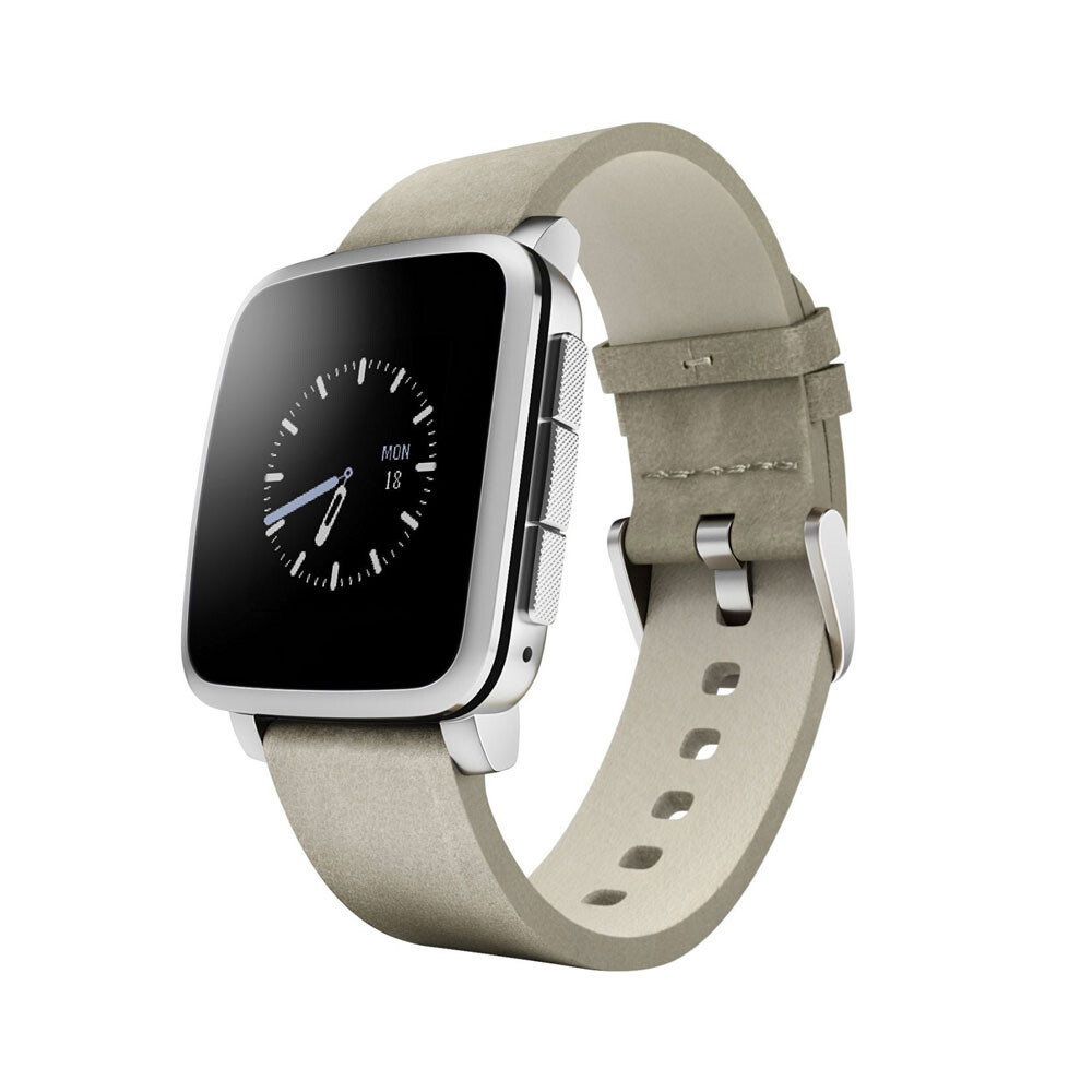 Умные часы Pebble Time Steel Silver with Leather Band