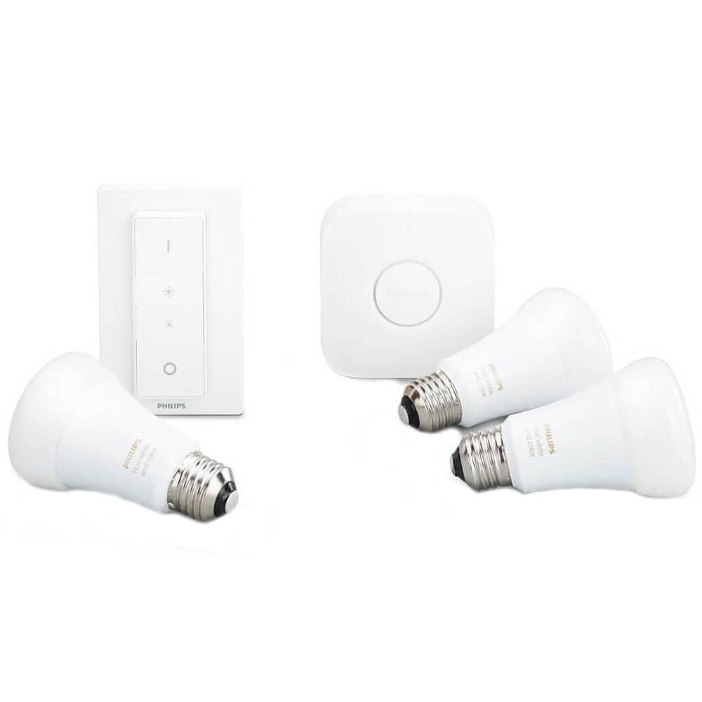 Купить Умные светодиодные лампочки Philips Hue White And Color Ambiance E27 Apple HomeKit 3 шт. (хаб и диммер в комплекте)
