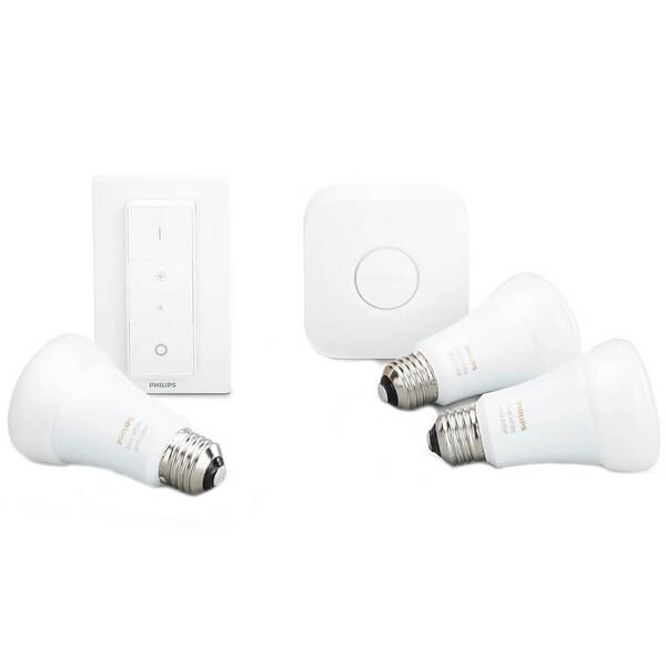Умные светодиодные лампочки Philips Hue White And Color Ambiance E27 Apple HomeKit 3 шт. (хаб и диммер в комплекте)