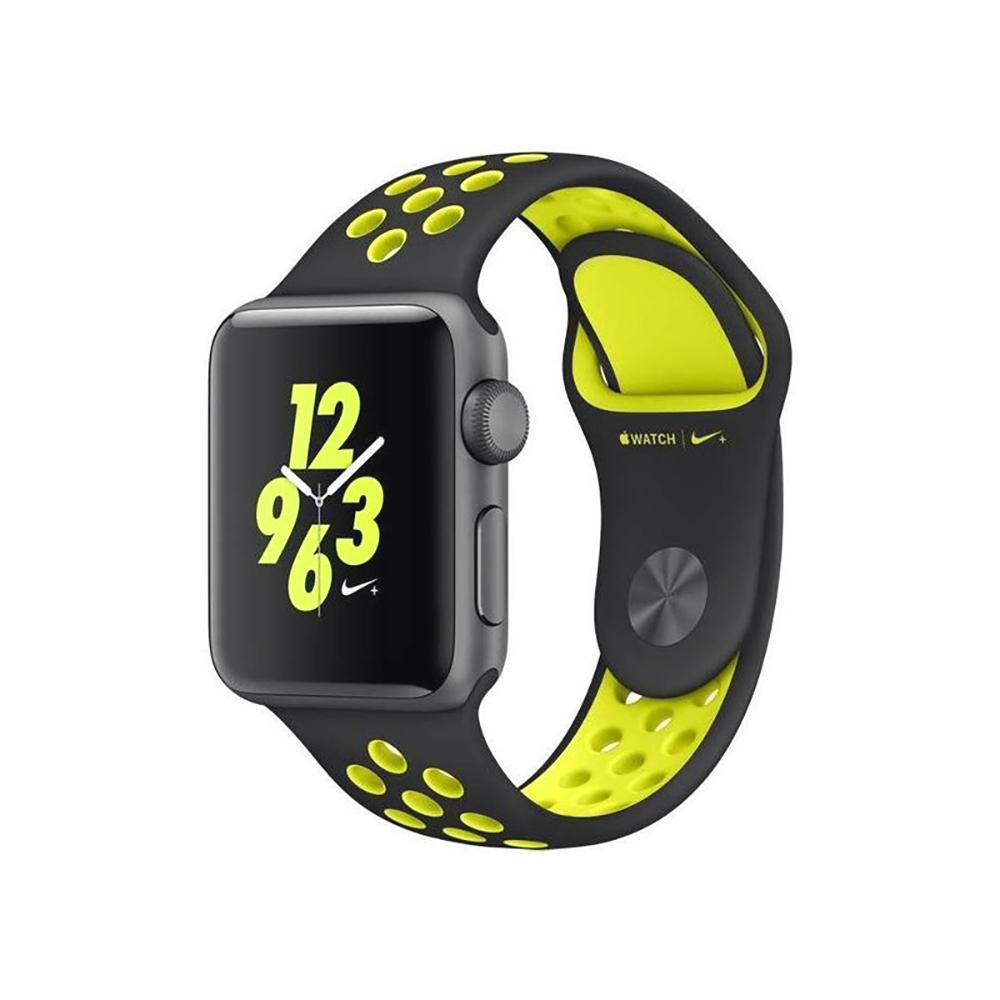 Купить Ремешок oneLounge Nike Sport Band Black | Volt для Apple Watch 42mm | 44mm SE | 6 | 5 | 4 | 3 | 2 | 1 OEM