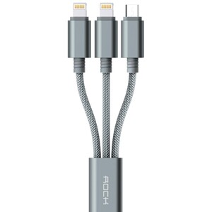 Купить Кабель USB 3-в-1 ROCK MicroUSB+2 Lightning Grey