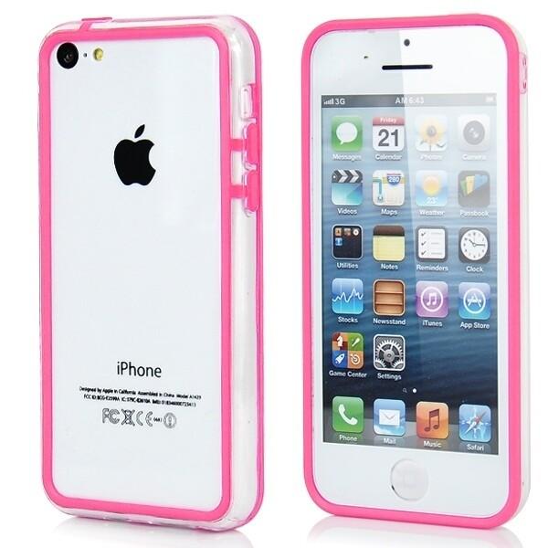 Прозрачный розовый бампер для iPhone 5C