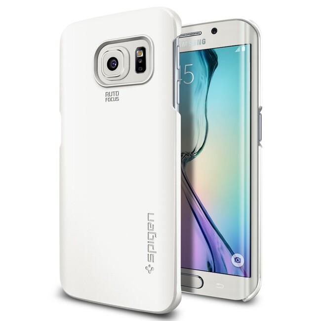 Чехол Spigen Thin Fit Shimmery White для Samsung Galaxy S6 Edge