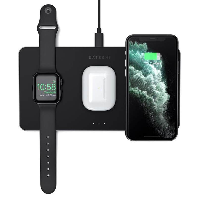Купить Беспроводная зарядка Satechi Trio Wireless Charging Pad для iPhone | Samsung | Apple Watch | AirPods