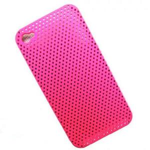 """Купить Розовый прорезиненный чехол """"Сеточка"""" для iPhone 4"""