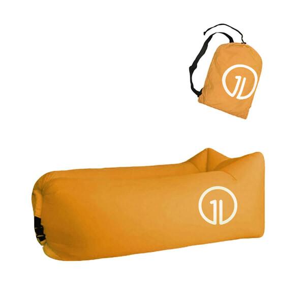 Надувной шезлонг (ламзак) iLoungeMax Оранжевый (c карманом)