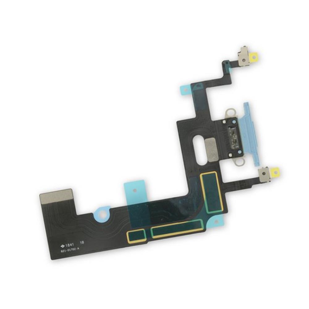 Купить Шлейф с разъемом зарядки Lightning (Blue) для iPhone XR