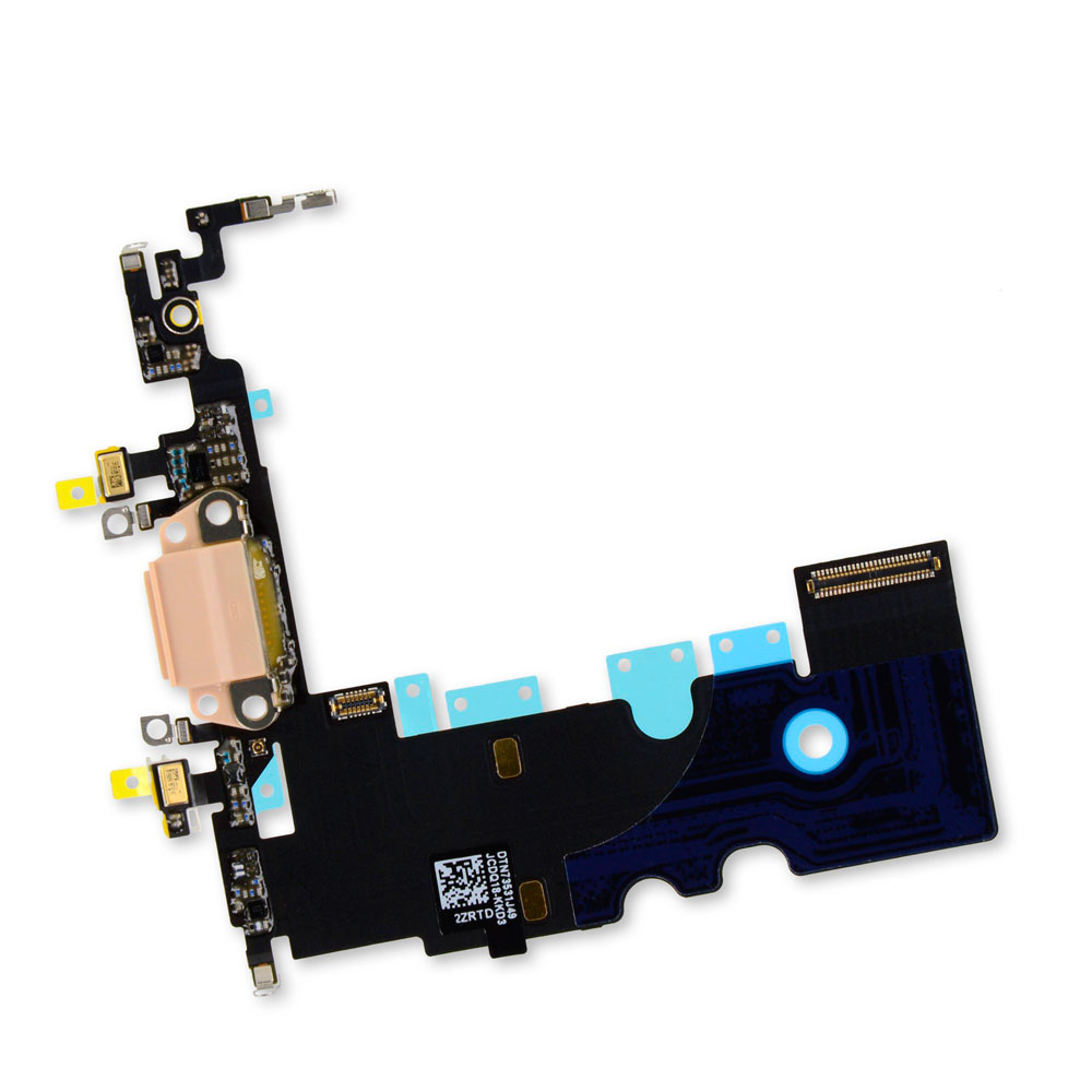 Купить Шлейф с разъемом зарядки Lightning + разъем аудио (Gold) для iPhone 8