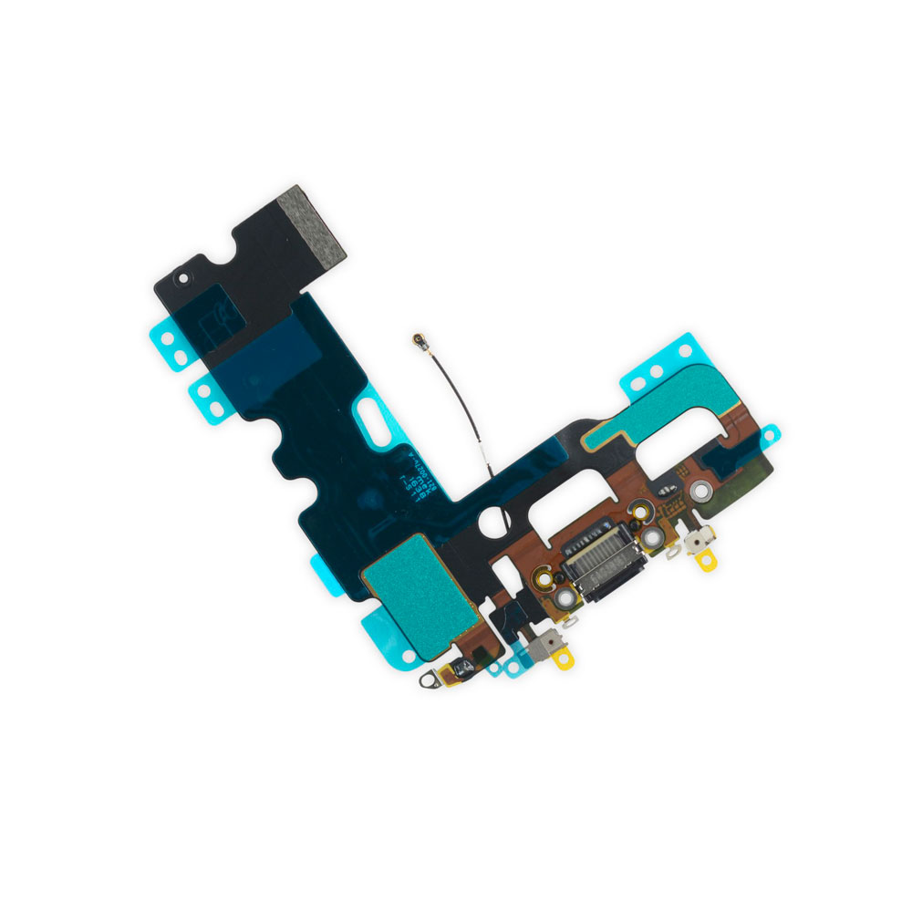 Купить Шлейф с разъемом зарядки Lightning + разъем аудио (Black) для iPhone 7