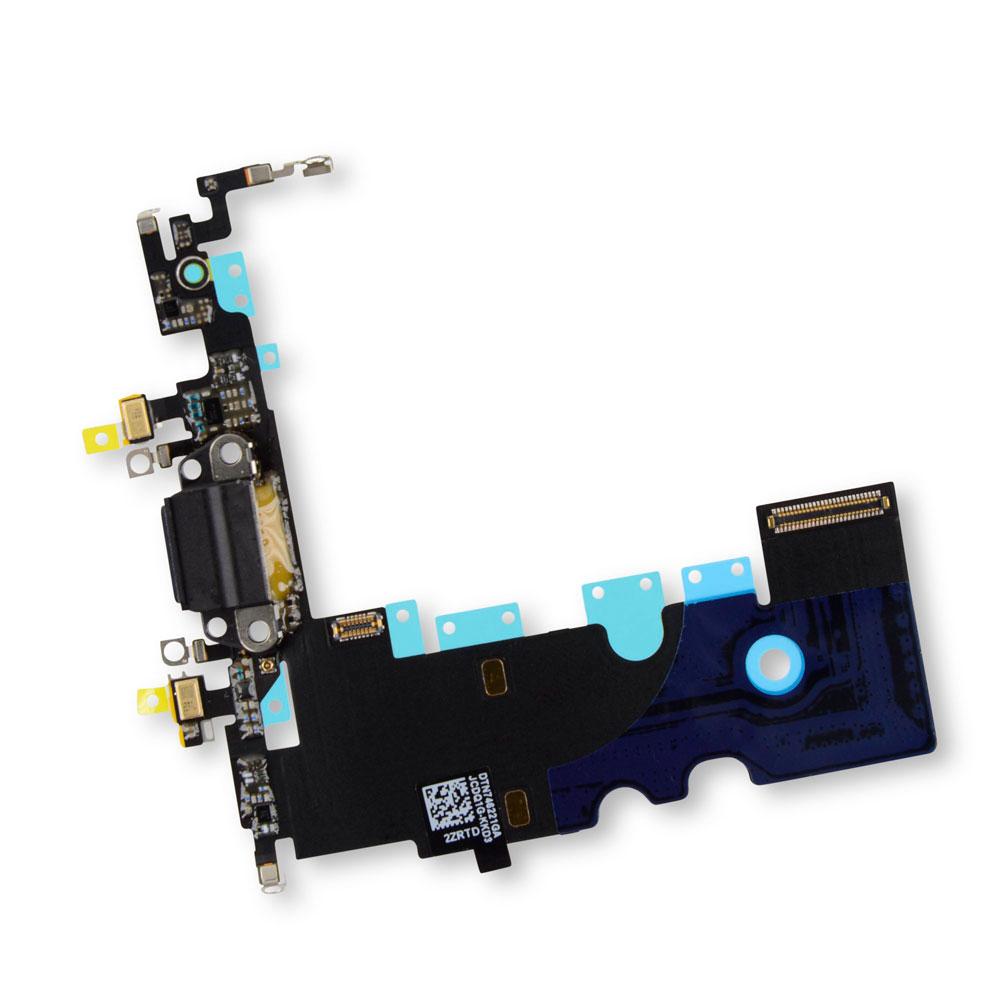 Купить Шлейф с разъемом зарядки Lightning + разъем аудио (Black) для iPhone 8