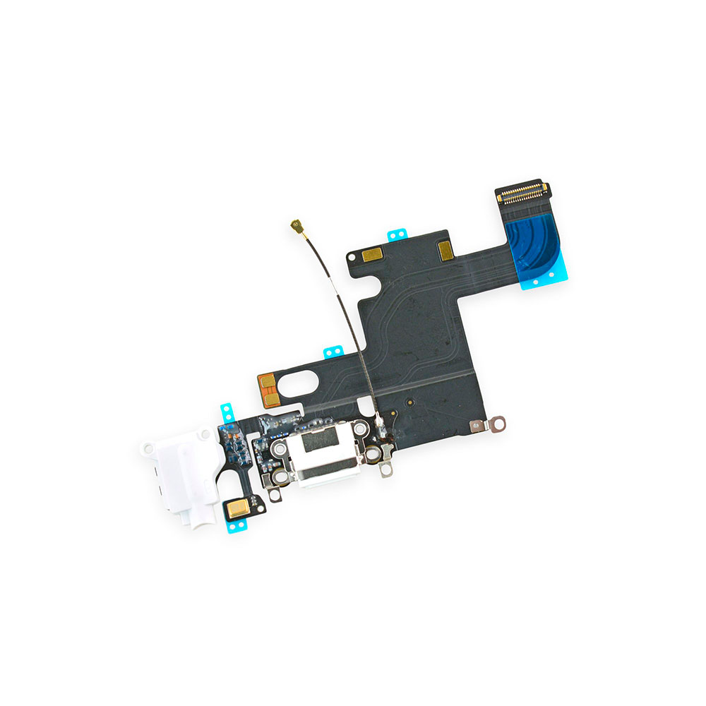 Купить Шлейф с разъемом зарядки Lightning + разъем аудио (White) для iPhone 6