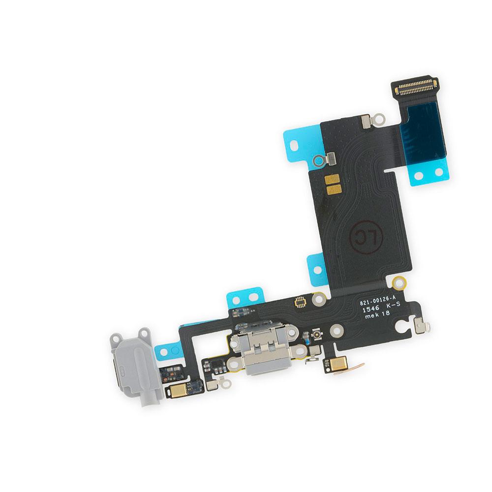 Купить Шлейф с разъемом зарядки Lightning + разъем аудио (Gray) для iPhone 6s Plus