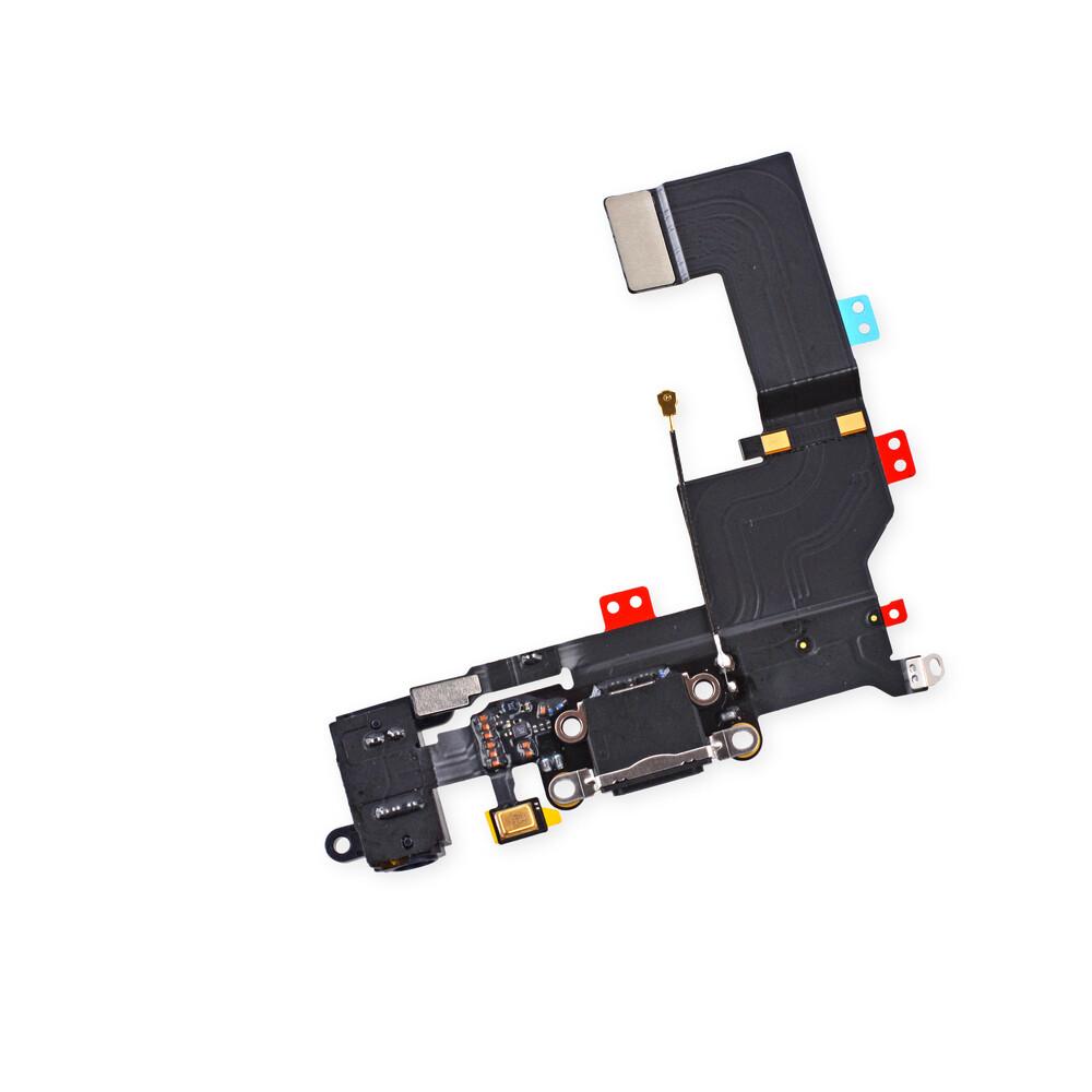 Черный шлейф с разъемом зарядки Lightning и аудио-разъемом для iPhone 5S