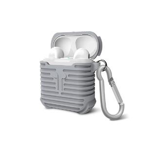 Купить Серый силиконовый чехол с карабином для Apple AirPods
