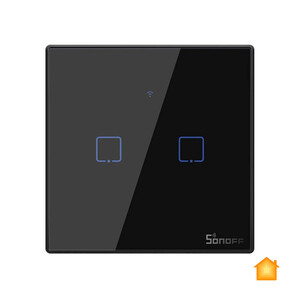 Купить Черный умный выключатель HomeKit Sonoff TX T3EU2C (2 канала)