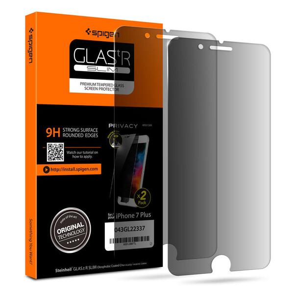 Защитное стекло анти-шпион Spigen GLAS.tR SLIM Privacy для iPhone 7 Plus   8 Plus (2 стекла)
