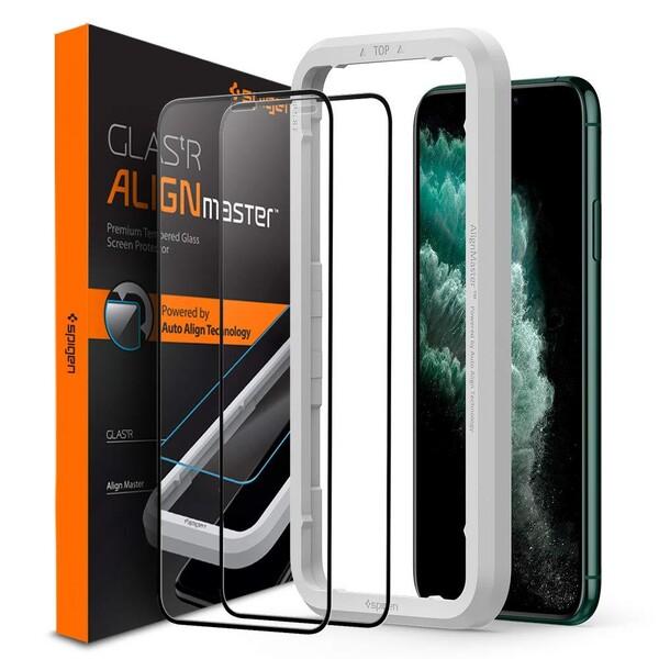 Защитное стекло Spigen GLAS.tR AlignMaster Black для iPhone 11 Pro Max | XS Max (2 Pack)