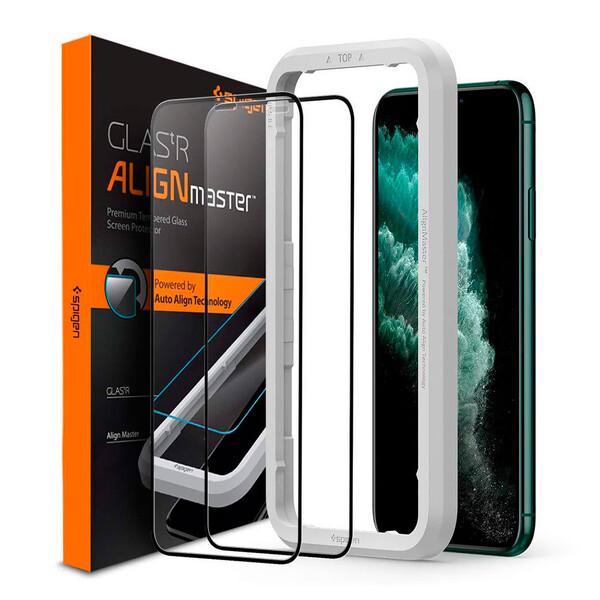 Защитное стекло Spigen GLAS.tR AlignMaster Black для iPhone 11 Pro | X | XS (2 Pack)