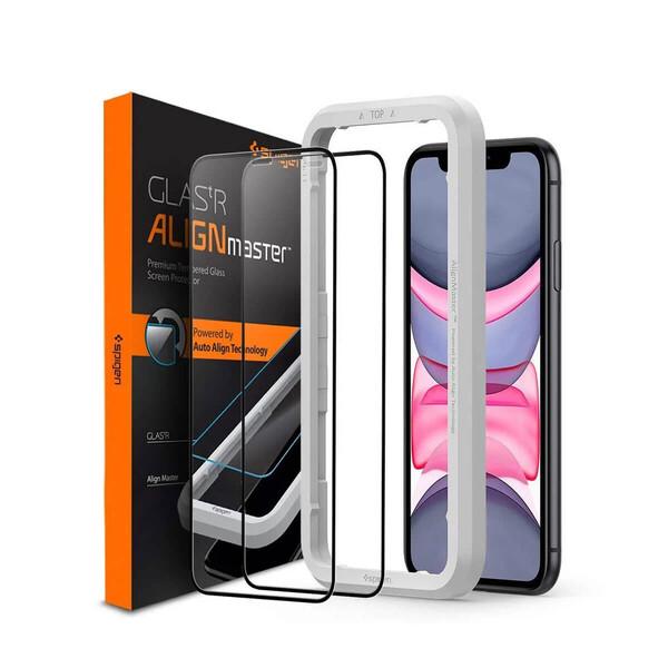 Защитное стекло Spigen Glas.tR AlignMaster Black для iPhone 11 | XR (в комплекте 2 шт.)