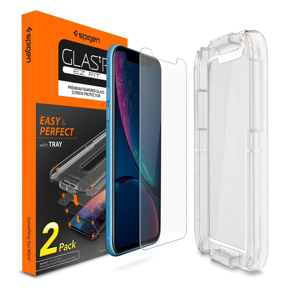 Купить Защитное стекло Spigen GLAS.tR SLIM EZ FIT для iPhone 11 | XR (1 стекло + рамка для поклейки)