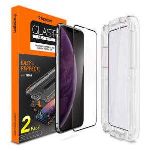 Купить Защитное стекло Spigen GLAS.tR EZ FIT Edge to Edge для iPhone 11 Pro Max | XS Max (2 стекла + рамка для поклейки)