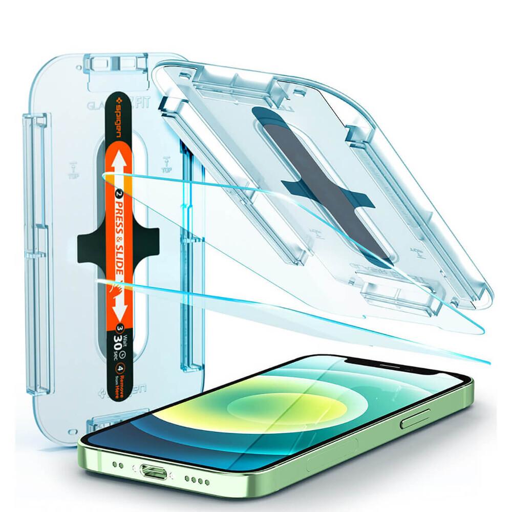 Купить Защитное стекло с рамкой для поклейки Spigen EZ FIT GLAS.tR SLIM для iPhone 12 Pro Max (2 шт.)
