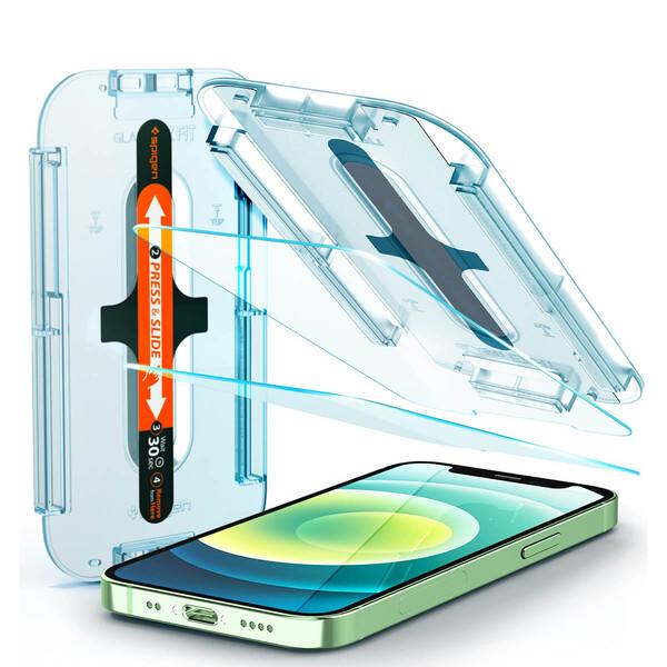 Защитное стекло с рамкой для поклейки Spigen EZ FIT GLAS.tR SLIM для iPhone 12 mini (2 шт.)
