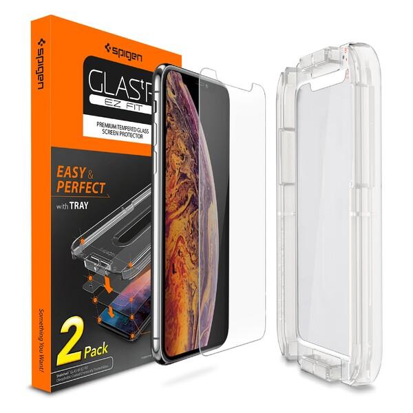 Защитное стекло Spigen GLAS.tR SLIM EZ FIT для iPhone 11 Pro | X | XS (2 стекла + рамка для поклейки)