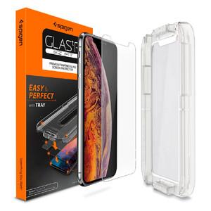 Купить Защитное стекло Spigen GLAS.tR SLIM EZ FIT для iPhone 11 Pro/X/XS (1 стекло + рамка для поклейки)