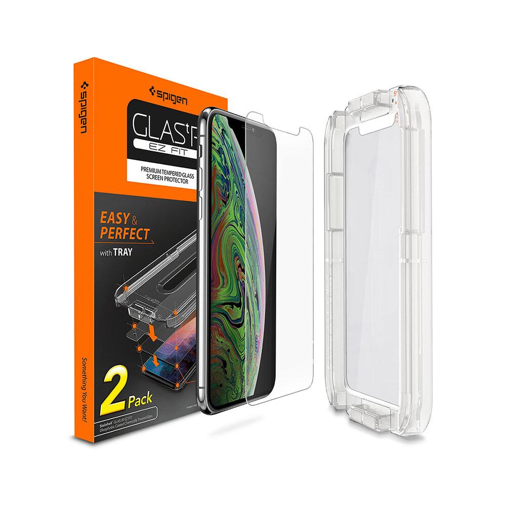 Защитное стекло Spigen GLAS.tR SLIM EZ FIT для iPhone XS Max (1 стекло + рамка для поклейки)