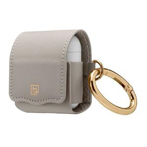Купить Кожаный чехол с карабином Spigen La Manon Leather Light Gray для Apple AirPods
