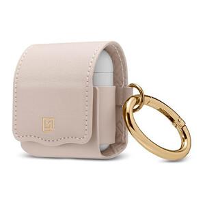 Купить Кожаный чехол с карабином Spigen La Manon Leather Pale Pink для Apple AirPods
