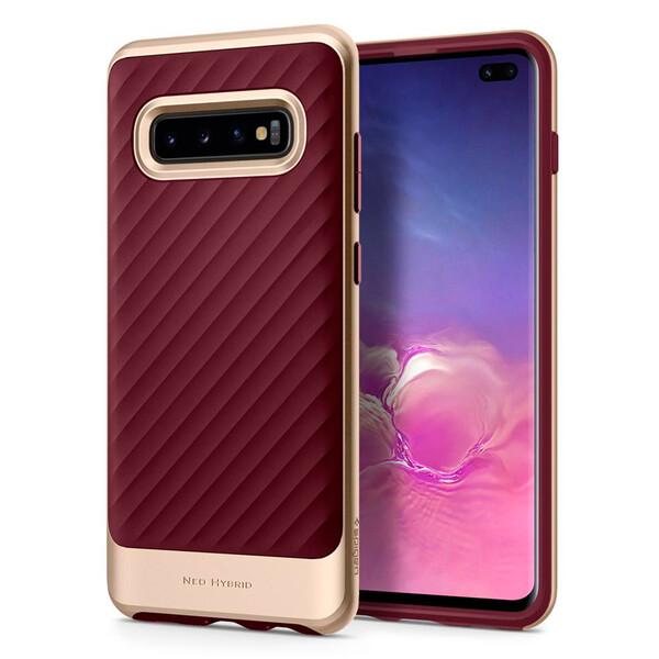 Противоударный чехол Spigen Neo Hybrid Burgundy для Samsung Galaxy S10 Plus
