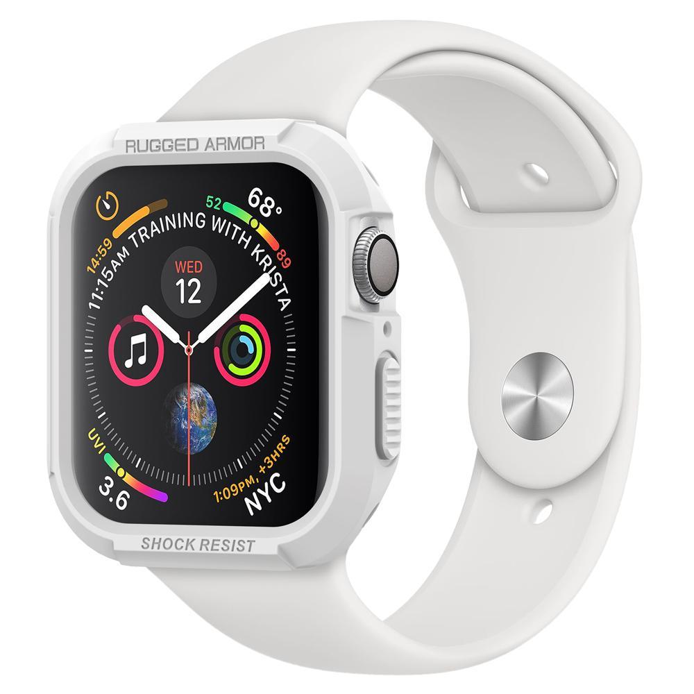 Купить Противоударный чехол Spigen Rugged Armor White для Apple Watch 44mm SE | 6 | 5 | 4