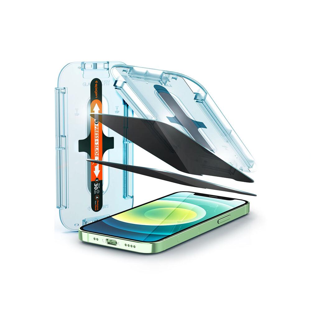 Купить Защитное стекло антишпион Spigen EZ FIT GLAS.tR Privacy V2 для iPhone 12 | 12 Pro (2 шт.)