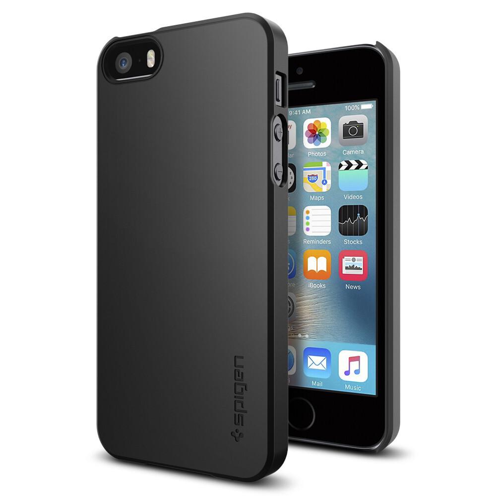 Чехол Spigen Thin Fit Black для iPhone SE/5S/5