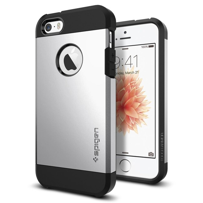Чехол Spigen Tough Armor Satin Silver для iPhone SE/5S/5