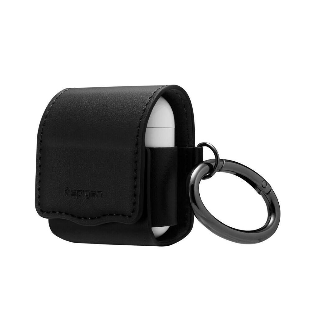 Купить Кожаный чехол с карабином Spigen Valentinus Black для AirPods