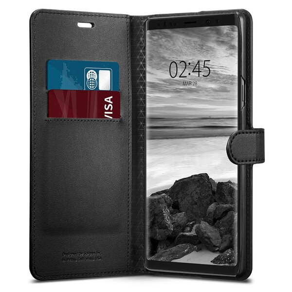 Кожаный чехол-книжка Spigen Wallet S Black для Samsung Galaxy Note 9